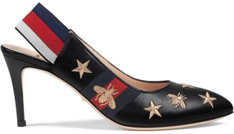 Gucci embroidered leather Web slingback pump