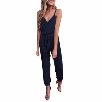 Armilum Women Jumpsuit Womens Jumpsuits Dungarees Fashion Women Solid V-Neck Strapless Bandage Ruffled Sleeveless Loose Long Jumpsuits Outfit Holiday Playsuit Trousers Overalls Rompers Beachwear