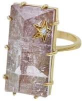 Andrea Fohrman Rectangle Rose Quartz Ring - Yellow Gold