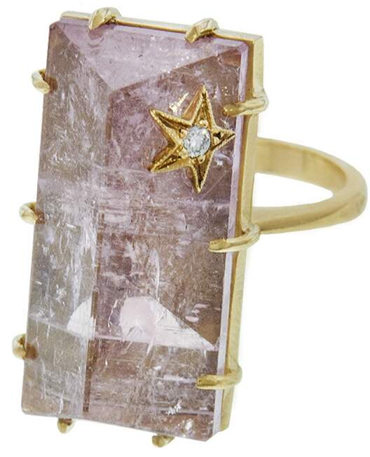 Andrea Fohrman Rectangle Rose Quartz Ring - Yellow Gold