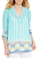 Multiples V-Neck Roll-Tab Sleeve Border Print Tunic