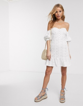 Asos DESIGN broderie off the shoulder cupped mini dress with tiered hem in white