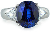 FANTASIA Wide Mixed-Cut Crystal Cocktail Ring, Blue