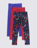 Marks and Spencer 3 Pack Cotton Rich Assorted Leggings with StayNEWTM (1-7 Years)