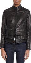 Barneys New York Tiered Ruffle-Hem Leather Jacket