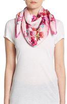 Blumarine Floral Print Silk Scarf