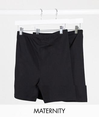 Mama Licious Mamalicious maternity jersey shorts 2 pack in black