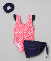 Sweet & Soft Hot Pink Polka Dot Angel-Sleeve One-Piece Set - Infant & Kids