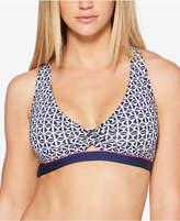 Jag Tiki Printed Twist-Front Cross-Back Bikini Top Women's Swimsuit