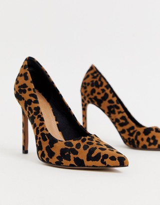 Asos Design DESIGN Porto pointed high heeled court shoes in leopard
