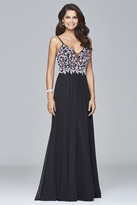 Faviana s7949 Long fit and flare dress with beaded bodice