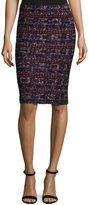 St. John Tweed Pull-On Pencil Skirt, Black Pattern