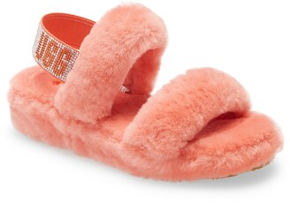 UGG Oh Yeah Bling Genuine Shearling Slingback Sandal
