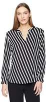 Anne Klein Women's Double Stripe Print Split Neck Top