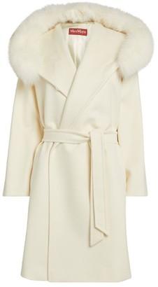 Max Mara Fox Fur-Trim Mango Coat