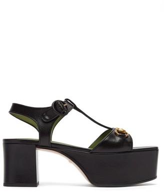 Gucci Houdan Horsebit Leather Platform Sandals - Womens - Black