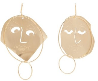 J.W.Anderson Mismatched Moon Face Drop Earrings - Womens - Gold