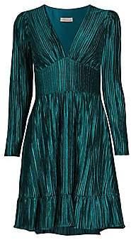 Shoshanna Women's Laine Pleated V-Neck Dress - Size 0