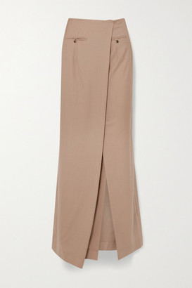 A.W.A.K.E. Mode Draped Asymmetric Wool Maxi Skirt - Beige