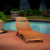 Asstd National Brand Lahaina Outdoor Wood Chaise Lounge