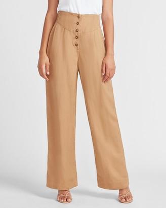 Express Super High Waisted Linen-Blend Button Fly Wide Leg Pant