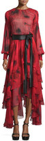 Michael Kors Long-Sleeve Tiered Silk Peasant Gown, Crimson
