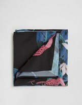 Asos Pocket Square With Flower Print In Black
