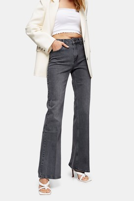 Topshop Gray Relaxed Flared Jeans