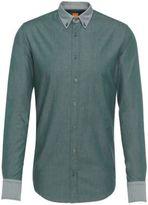 Hugo Boss Edipo E Slim Fit, Cotton Twill Button Down Shirt M Green