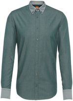 Hugo Boss Edipo E Slim Fit, Cotton Twill Button Down Shirt MGreen
