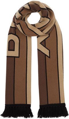 Burberry logo detail fringed scarf