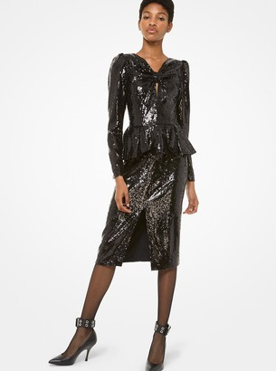 Michael Kors Sequined Peplum Slit-Front Dress