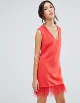 Daisy Street Shift Dress With Faux Leather Hem