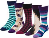 Bold Purple 5 Pairs Men's Crew Socks
