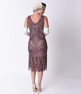 Unique Vintage 1920s Style Purple & Gold Beaded Sinclair Flapper Dress