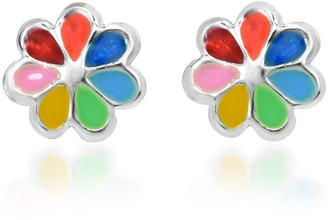 Aeravida Handmade Colorful Summer Flower .925 Silver Stud Earrings