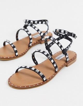 Steve Madden travel studded gladiator flat sandals in black
