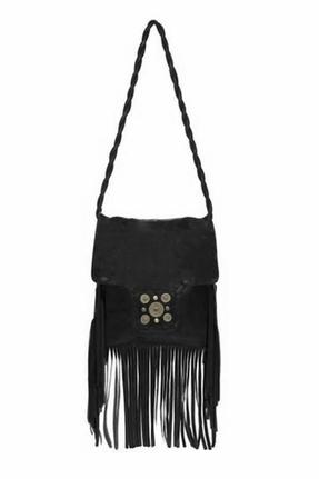 JJ Winters Fringe Bag with Flap in Black