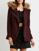 Charlotte Russe Faux Fur-Trim Hooded Asymmetrical Coat