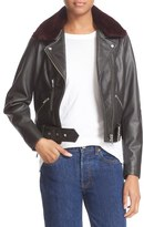 Veda 'National' Leather Moto Jacket with Removable Genuine Shearling Collar