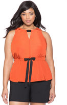 ELOQUII Plus Size Gathered Tie Waist Top