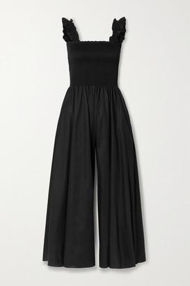 La Ligne Vero Ruffled Smocked Cotton-poplin Jumpsuit - Black