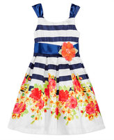 Bonnie Jean Floral-Print Striped Party Dress, Big Girls (7-16)