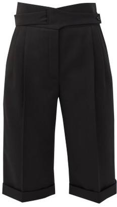 Saint Laurent High-rise Grain-de-poudre Bermuda Shorts - Womens - Black