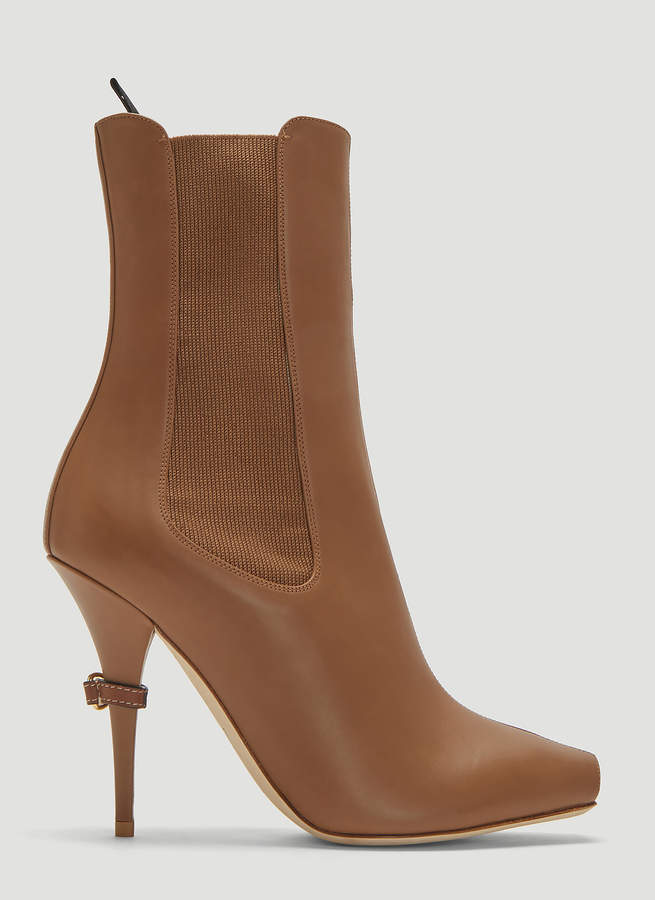Burberry Peep-toe Ankle Boots in Brown