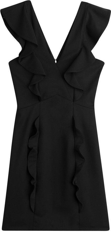 The Kooples Ruffled Wool Mini Dress