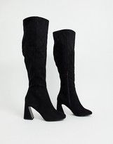 Miss Selfridge over the knee boots with flared heels in black