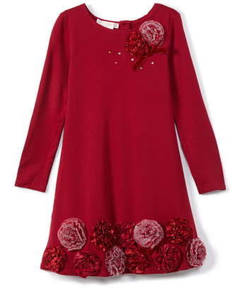 Biscotti Girls' Special Occasion Dresses RED - Red Floral Ponte A-Line Dress - Girls