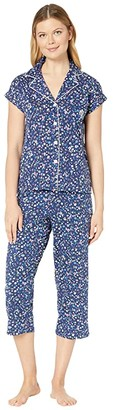 Lauren Ralph Lauren Cotton Rayon Jersey Knit Short Sleeve Notch Collar Dolman Capri Pants Pajama Set (Navy Print) Women's Pajama Sets