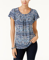 Style&Co. Style & Co Petite Printed Pleated Top, Only at Macy's